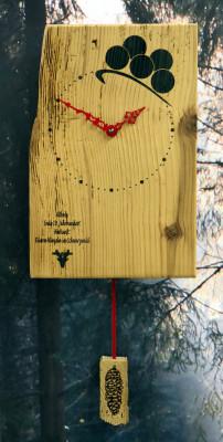 Oud hout wandklok Bollenhoed
