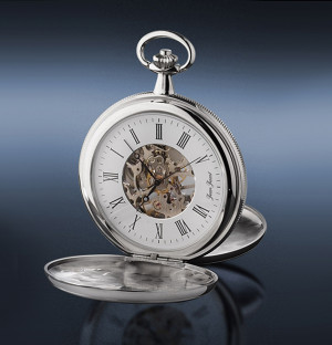JEAN JACOT Pocket watch skeletonized with manual winding, bicolor MADE IN GERMANY