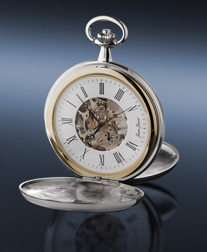 JEAN JACOT Pocket watch skeletonized with manual winding, chromed MADE IN GERMANY