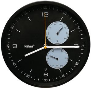 Tijdsein gestuurd wandklok met thermometer / hygrometer, zwart