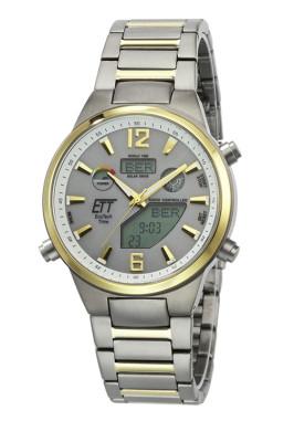 Eco Tech Time Solar Drive Tijdsein gestuurd Everest II Titanium Polshorloge Wereldtimer - EGT-11381-21M