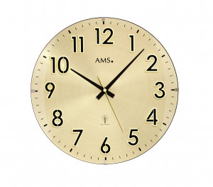 AMS Funk-Wanduhr messing