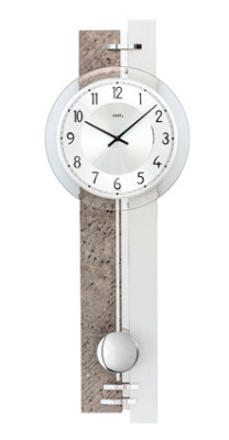 AMS quartz pendulum wall clock natural stone / aluminum