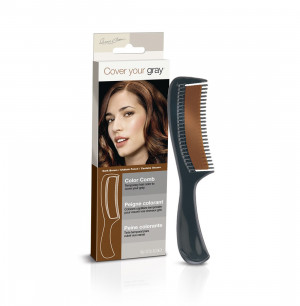 Medium brown color comb - instantly covers gray hair