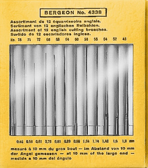 Ruimer assortiment 0,46 - 1,90 mm Bergeon, Set met 12 stuks