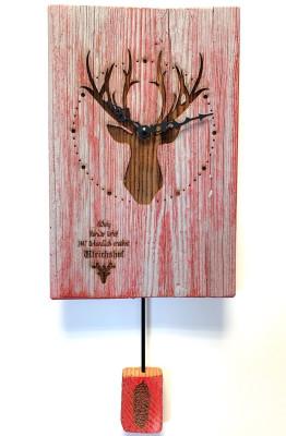 Oud hout Wandklok met Hert, rood/grijs