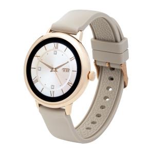 Fitness tracker / smartwatch met verwisselbare polsband beige/ zwart