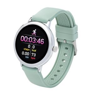 Fitness tracker / smartwatch met verwisselbare polsband groen/ grijs