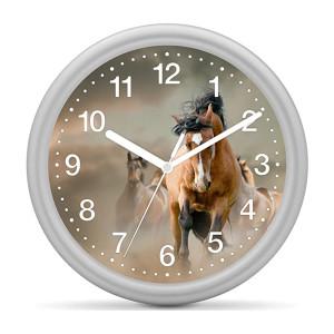 Kinderwanduhr Pferd - Wildpferd braun