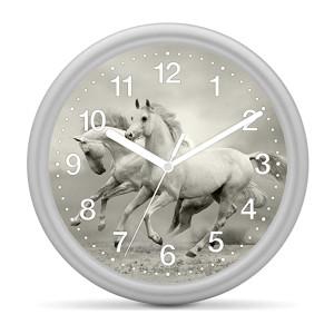 Kinderwanduhr Pferd - 2 Pferde weiß / grau