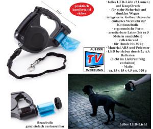 Dog leash with LED light and poop bag dispenser