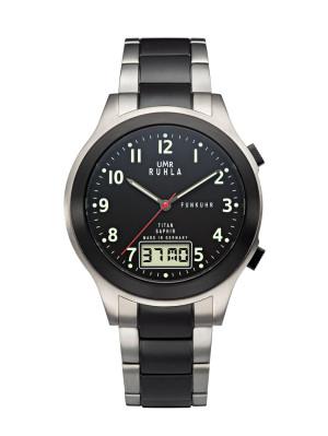 Uhren Manufaktur Ruhla - Funk-Armbanduhr - schwarz - Titanband - made in Germany