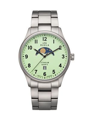 Uhren Manufaktur Ruhla - Mondphase-Uhr - Titan - Leuchtzifferblatt - Titanband - made in Germany