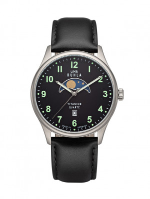 Uhren Manufaktur Ruhla - Mondphase-Uhr - Titan - Leuchtzahlen - Lederband - made in Germany