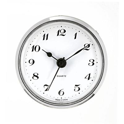 Insteekwerk UTS trommel Ø 57 mm, ring Ø 85 mm zilver, wijzerplaat wit antiek, Arabische cijfers