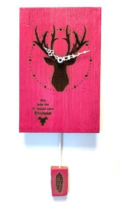 Oud hout Wandklok met Hert, roze