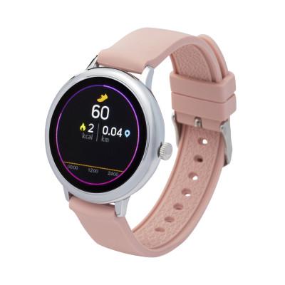 Fitness tracker / smartwatch met verwisselbare polsband roze/grijs