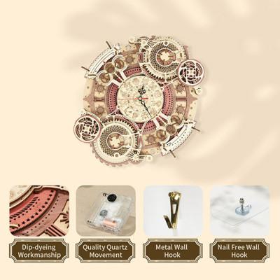 ROKR 3D Bouwset Kwarts wandklok met Kalender/ Zodiac Wall Clock
