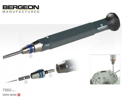 Schroevendraaierset met Bergeon snelwissel adapters