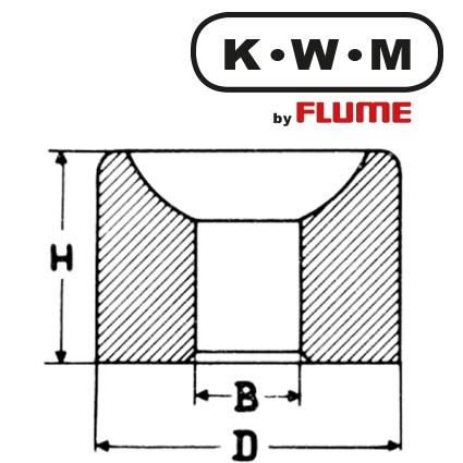 KWM Bouchon Messing L133 , B 6,00 - H 3,0 - D 8,70 mm