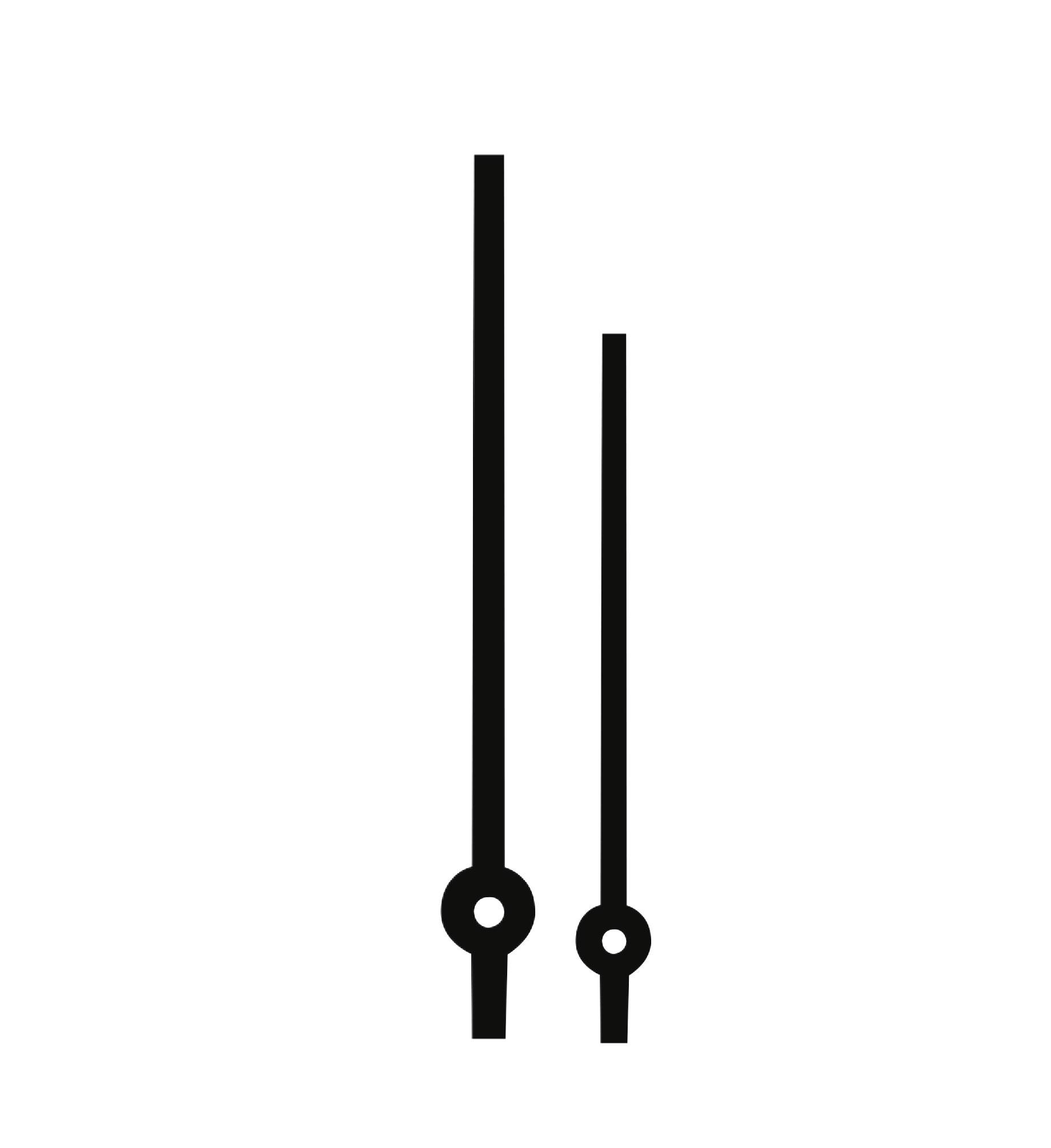 Wijzerpaar Euronorm balkvormig zwart minutenwijzer-L:105 mm