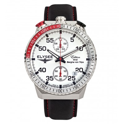 Élysée Rally Timer, Bracelet en cuir noir, cadran blanc