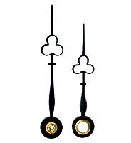 Wijzerpaar voor pendules klaverblad blauw gepolijst minutenwijzer-L:50 mm uren-w.-Ø:5 min.-w.-Ø:2x2