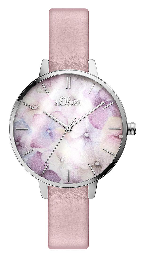 s.Oliver bracelet-montre en similicuir rosé SO-3521-LQ