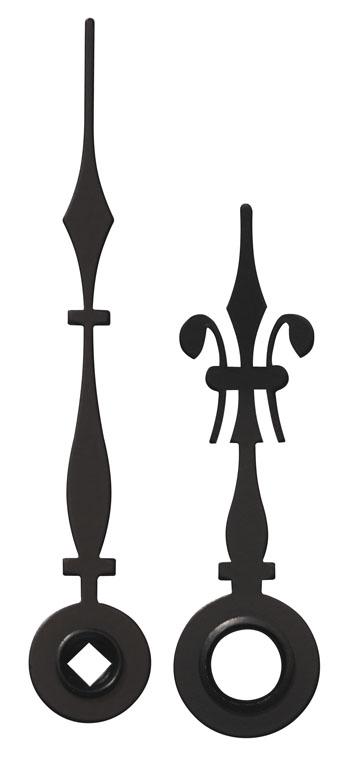 Wijzerpaar voor mechn. Antiek zwart Min.- / Uurwijzer L: 43mm /30mm