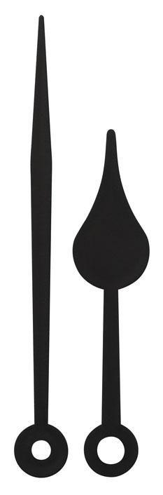 Wijzerpaar peer zwart kunststof radiografisch, grote wijzer 79mm