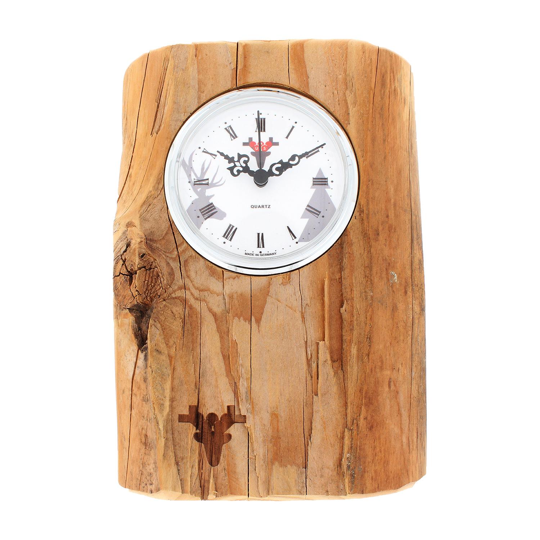 Klok Balk van oud hout, witte wijzerplaat
