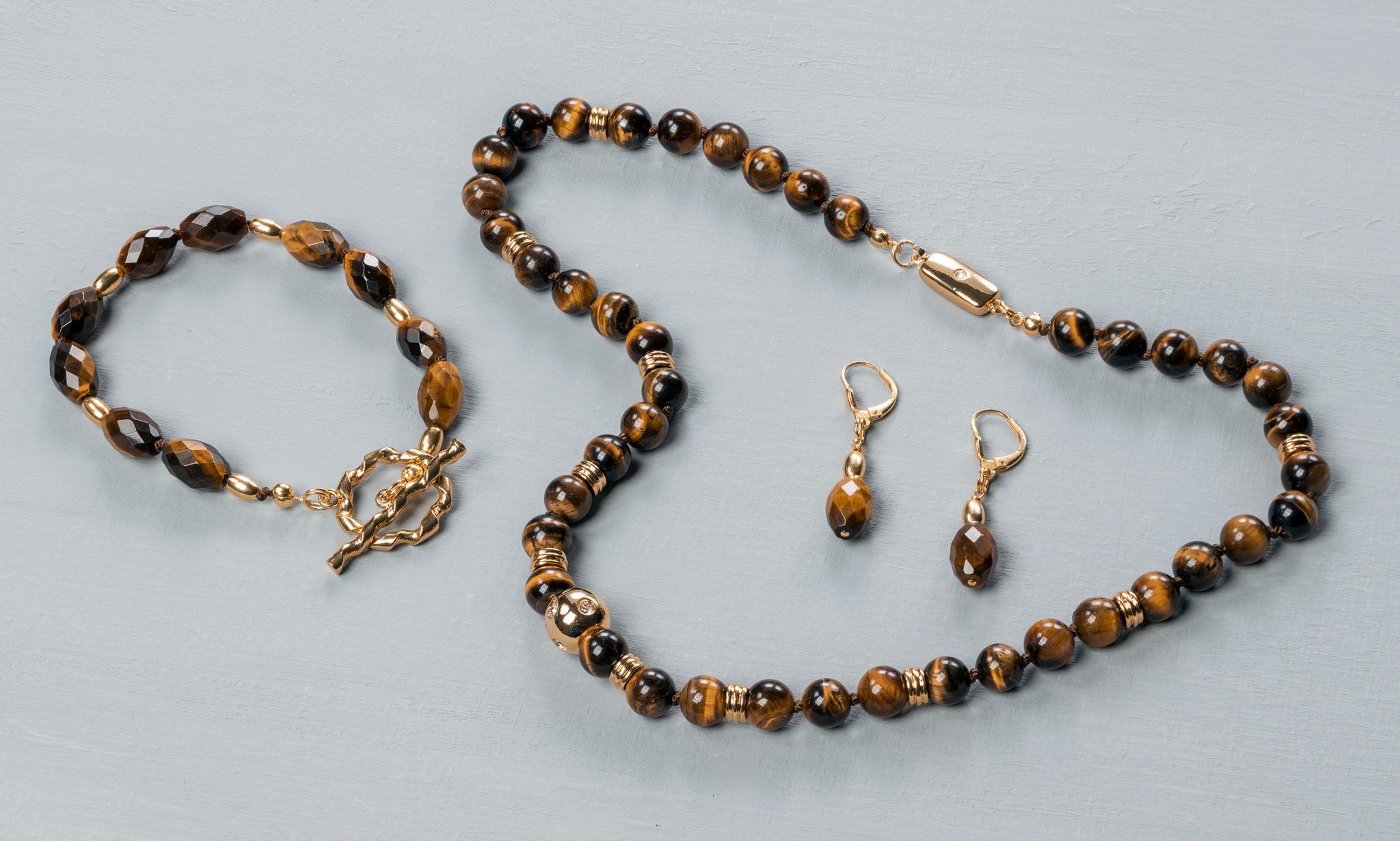 Handcraft jewellery set Tiger Eye