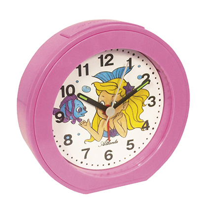 Atlanta 1998/17 Alarm clock quartz pink, for children