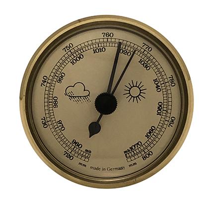 Barometer inbouw weerinstrument Ø 85 mm, goudkleurig