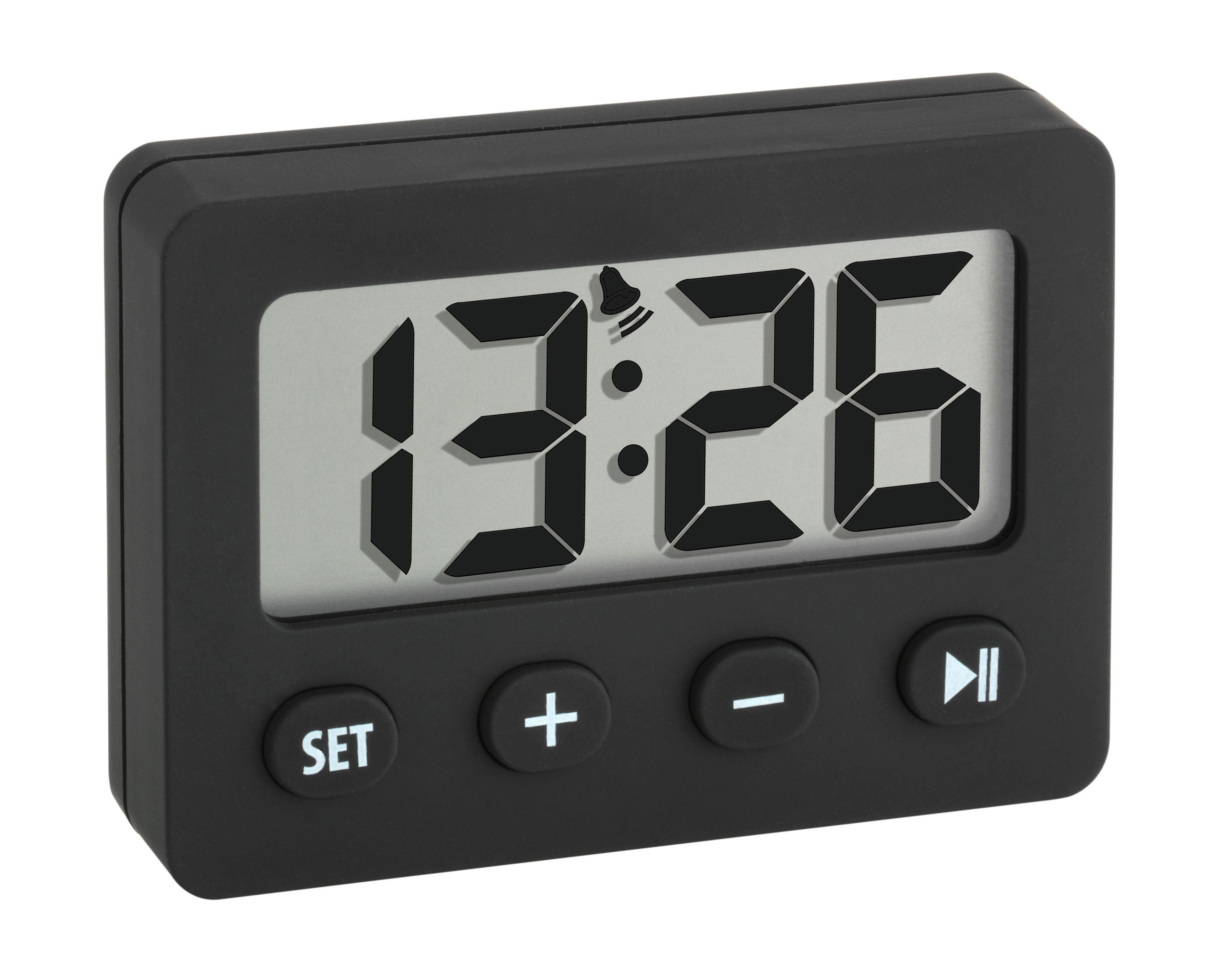 Digitale wekker met timer en stopwatch, zwart