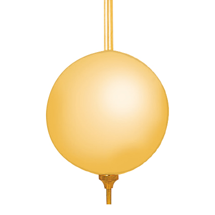Mechaniek pendel eenvoudig messing geel gematteerd L:400 mm Ø:70 mm