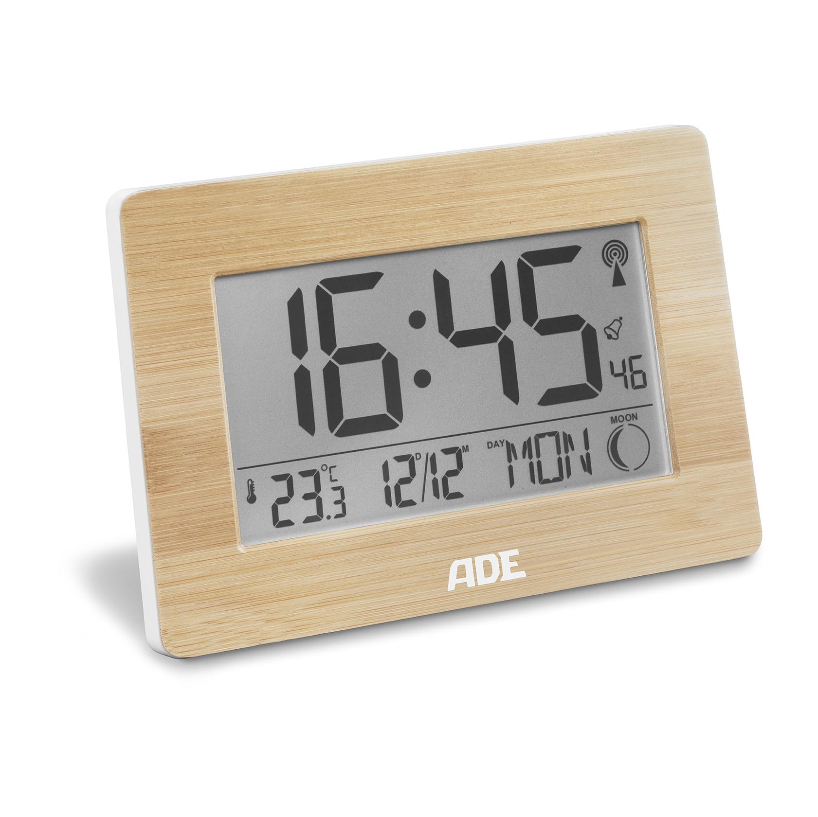 Tijdsein gestuurde klok met maanstand, temperatuur en datumweergave