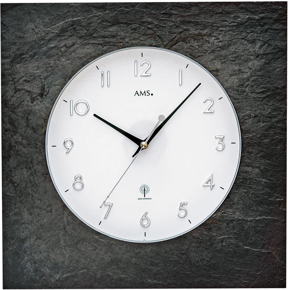 AMS Funk-Wanduhr Naturschiefer
