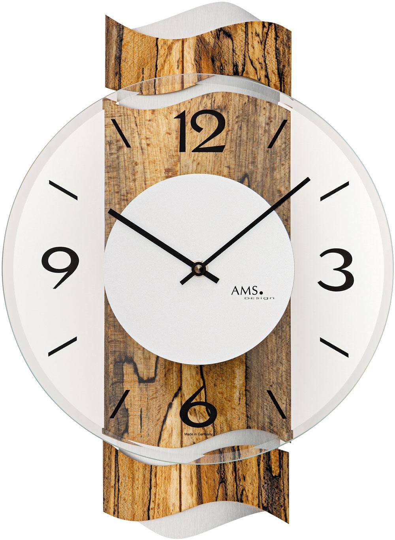 AMS Kwarts wandklok met hout