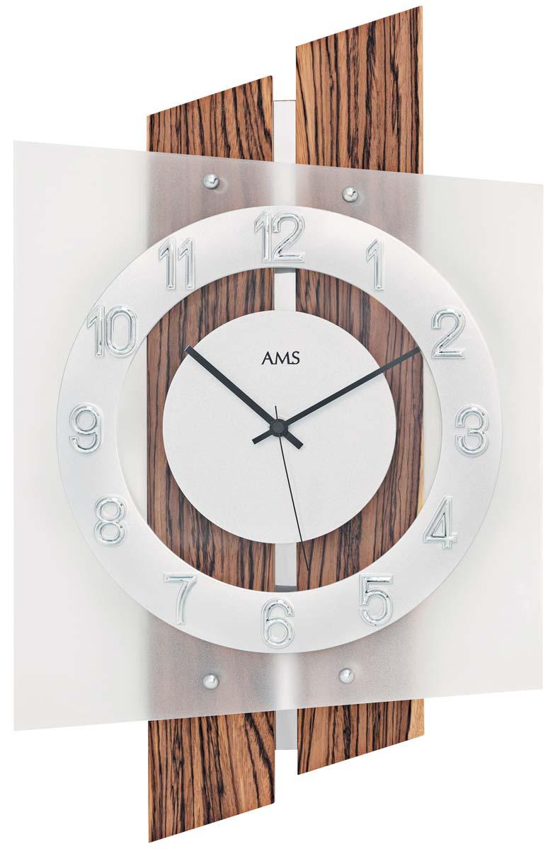 AMS Tijdsein gestuurde wandklok met hout